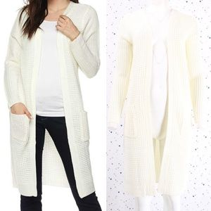 Waffle Knit Duster Long Sweater Cardigan Ivory